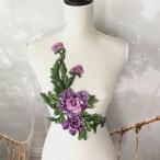 バラ モチーフレース 3D 立体的 紫 刺繍 衣装 装飾 ハンドメイド ダンス