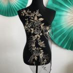 フラワー 立体感レース 3D パール付き 黒 ゴールド ブラック 刺繍 パーツレース 衣装 材料 コスチューム バトン ダンス 新体操