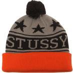 ステューシー STUSSY ポンポン ニットキャップ ニット帽 ヘッドウェア グレー/オレンジ