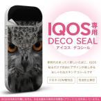 iQOS アイコス 専用スキンシール 裏表2枚セット カバー ケース ステッカー デコ アクセサリー デザイン おしゃれ 写真 フクロウ 黒 ブラック 007937