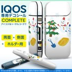 iQOS アイコス 専用スキンシール 裏表2枚 側面 ホルダー フルセット 両面 サイド ボタン クリスマス 雪 結晶 009483