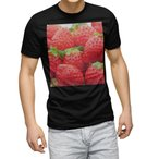 tシャツ メンズ 半袖 ブラック デザイン XS S M L XL 2XL Tシャツ ティーシャツ T shirt 黒  苺 いちご 赤 果物 000149