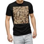 tシャツ メンズ 半袖 ブラック デザイン XS S M L XL 2XL Tシャツ ティーシャツ T shirt 黒  ピーナツ 落花生 食べ物 000276