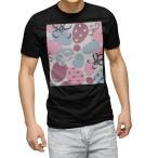tシャツ メンズ 半袖 ブラック デザイン XS S M L XL 2XL Tシャツ ティーシャツ T shirt 黒  いちご 花 ピンク 002435
