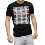 tシャツ メンズ 半袖 ブラック デザイン XS S M L XL 2XL Tシャツ ティーシャツ T shirt 黒  マリン ワッペン イラスト 004514