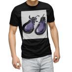 tシャツ メンズ 半袖 ブラック デザイン XS S M L XL 2XL Tシャツ ティーシャツ T shirt 黒  食べ物 絵 なす 013290
