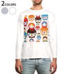 ロングTシャツ メンズ 長袖 ホワイト グレー XS S M L XL 2XL Tシャツ ティーシャツ T shirt long sleeve  キャラクター 花 カラフル 003448