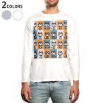 ロングTシャツ メンズ 長袖 ホワイト グレー XS S M L XL 2XL Tシャツ ティーシャツ T shirt long sleeve  猫 動物 キャラクター 003583