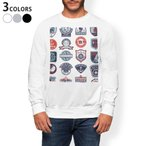 トレーナー メンズ 長袖 ホワイト グレー ブラック XS S M L XL 2XL sweatshirt trainer 裏起毛 スウェット マリン ワッペン イラスト 004514
