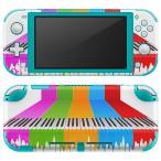 igsticker Nintendo Switch Lite 専用 デザインスキンシール 全面 任天堂 専用 ニンテンドー スイッチ ライト  カラフル 音楽 ピアノ 002543