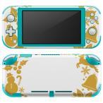 igsticker Nintendo Switch Lite 専用 デザインスキンシール 全面 任天堂 専用 ニンテンドー スイッチ ライト  クリスマス ゴールド リボン 009436
