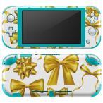 igsticker Nintendo Switch Lite 専用 デザインスキンシール 全面 任天堂 専用 ニンテンドー スイッチ ライト  リボン ゴールド 013815