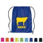 牛 名入れランドリーバッグ ナップサック フィットネス リュックサック 巾着袋 ホルスタイン ビーフ 牛肉 牛乳 卒業祝い