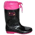 送料無料 アウトレット PERSON'S 裏地なし 女の子レインブーツ・ブラックラメ長靴