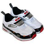 送料無料 トミカ靴 光るパトカースニーカー2・運動靴・ホワイトブラック