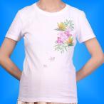 フラダンス Tシャツ L バードオブパラダイス・プルメリア ホワイト 1516lw