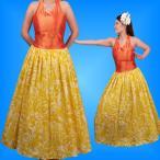 フラダンスムームー ホルターネックドレス  オレンジ×イエロー LLサイズ 1547oyLL
