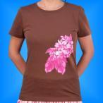 フラダンス Tシャツ M カトレア・プルメリア ブラウン 1596mbr