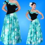 フラダンス ワンショルダー ベルベット斜め切り替え ドレス グリーン Fサイズ 1882gF
