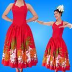 フラダンスムームー ホルターネックドレス レッド Fサイズ 2091rF