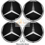 【M's】ベンツ AMG 純正品 ホイールセンターキャップ 4個 ブラック/クローム(直径:74mm)//正規品 光沢 ホイールハブキャップ