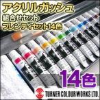 ポイント5倍 ターナー アクリルガッシュ 組み合わせセット プレンティセット(L) パレット+アクリルガッシュ14色+ホワイト絵の具+