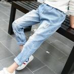 夏 韓国子供服 おしゃれ 女の子 デニムダメージジーンズ シンプル パンツ 子供 学生 レジャー デニムロングパンツジーパン ジーンズ キッズ ボトムス