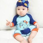 水着 キッズ 男の子 ロンパース セパレート 2種類 長袖水着 速乾 可愛いプリント スイミングキャップ付き ベビー 小学生 水遊び スイムウェア 海