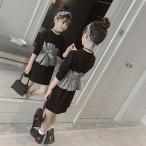 韓国子供服 フォーマル ワンピース ワンピース Tシャツ キッズ 女の子 春 秋 衣装 ブラック チェック柄 110 120 130 140 150 160cm