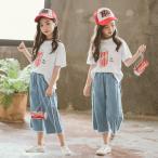 韓国子供服 女の子 Tシャツ ジーンズ 上下セット カジュアル キッズ 夏服 子供服 お出かけ 海外旅行 110 120 130 140 150 160cm