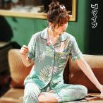 パジャマ セットアップ レディース 花柄 夏 前開き パジャマ プリント 長ズボン Vネックス 半袖 大きいサイズ ナイトガウン 部屋着 ゆったり 可愛い 寝巻き