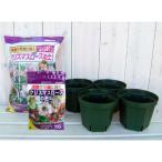 クリスマスローズ用の鉢と土と肥料のセット:とんでもないポット5号 4鉢分