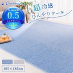 ラグ ラグマット ひんやり 接触冷感 Q-max0.5 洗える 抗菌 防臭 185×185cm 霜降り調 おしゃれ 冷感 2畳 正方形 ウォッシャブル