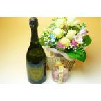 ホワイトデーに【送料込 23,000円】花かご&シャンパンの王様 '09ドンペリSET