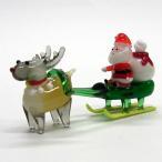 サンタそり&赤鼻のトナカイ ブラウン クリスマス ガラス細工 雑貨 置物