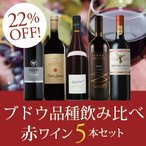 ブドウ品種飲み比べ赤ワイン5本セット HR2-1 / 750mlx 5 / 赤