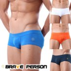 Brave Person シンプル無地ワンポイント スーパーストレッチ メンズ ローライズ ボクサー 4色 B1007 男性下着 メンズインナー お洒落インナー メンズ