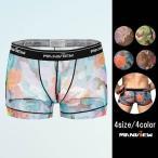 Manview 超薄 シースルーフラワー メンズ ローライズ ボクサーパンツ 4色 M37-1 男性下着 メンズインナー お洒落インナー メンズ セクシーインナー