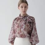 ブラウス レディース 40代 50代 フォーマル ファッション 女性 上品 花柄 バルーン袖 きれいめ