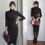 ニットワンピ ニットワンピース 40代ファッション 女性 冬 (通勤 オフィス) ワンピ 無地 レディース 服 きれいめ 上品 ハイネックニット ベルト セット