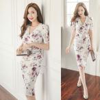 40代 50代 ファッション ワンピース 花柄 フラワー ボタニカル レディース カシュクールワンピース 膝丈 ワンピ 女性 大人かわいい 服