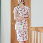 ショッピングワンピース ワンピース レディース タイトワンピース 花柄 フラワー 半袖 きれいめ 通勤 30代 40代 50代 ファッション 高級感 上品 夏