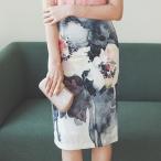タイトスカート レディース 春夏 40代 50代 フォーマル ファッション 女性 上品 ハイウエスト 膝丈 花柄 フラワー