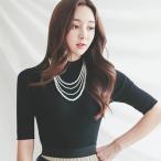 Tシャツ レディース トップス 無地 半袖 30代 40代 50代 ファッション 高級感 上品 秋 黒 茶色 ベージュ