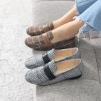 ショッピングフラット フラットシューズ レディース ペタンコ グレンチェック 2017 秋冬 ファッション 靴 婦人靴