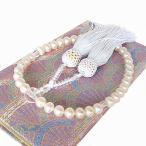 本真珠 数珠 念珠 淡水真珠 専用ケース付き 房の色 白 片手数珠 女性用 パール念珠 パール数珠 すべての宗派で使えます