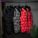 メンズ ダウンベスト おしゃれ 袖なしジャケット 中綿ベスト スタンドカラー 防寒着 ジャケット 2020秋冬