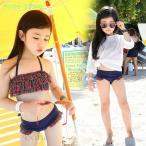 子供水着 女の子 ビキニ 3点セット 水着 ラッシュガードセット UVカット フリル水着 韓国 水着 スイムウェア 可愛い 速乾キッズ用 S M L XL 2XL 3XL
