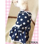 新作 かわいい 犬服・水玉デニムワンピース