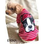 新作 秋冬 かわいい 犬服・ビッグワッペンボーダーラウンドTシャツ